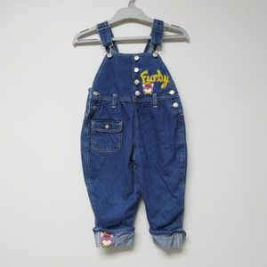 Furby embroidered denim overalls